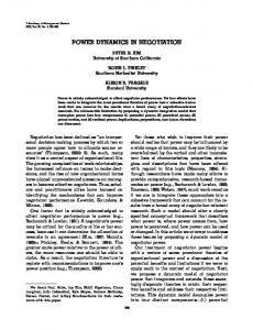 POWER DYNAMICS IN NEGOTIATION