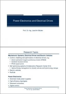 Power Electronics and Electrical Drives