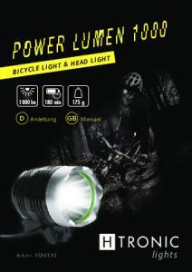 Power Lumen lights. Bicycle light & head light. Art.nr