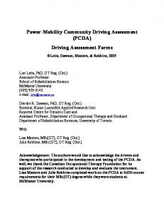 Power-Mobility Community Driving Assessment (PCDA) Driving Assessment Forms
