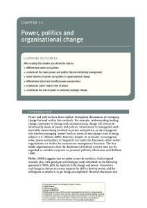 Power, politics and organisational change