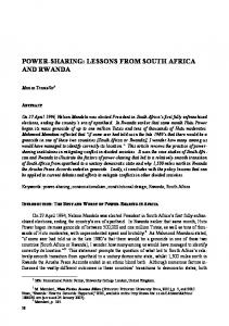 POWER-SHARING: LESSONS FROM SOUTH AFRICA AND RWANDA