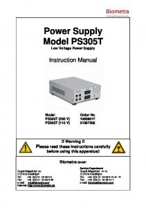 Power Supply Model PS305T Low Voltage Power Supply