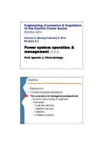 Power system operation & management (2 of 2)
