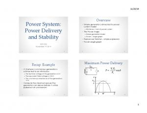 Power System: Power Delivery and Stability