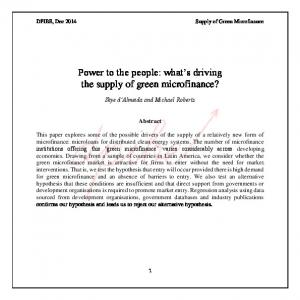 Power to the people: what s driving the supply of green microfinance?