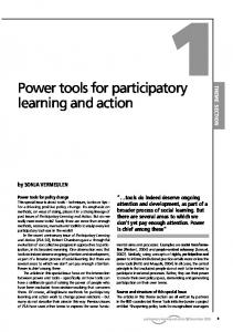 Power tools for participatory learning and action