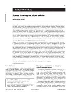 Power training for older adults