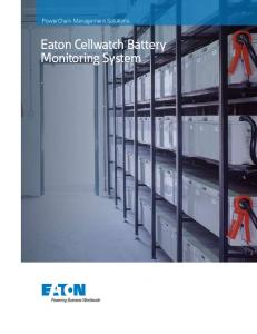 PowerChain Management Solutions. Eaton Cellwatch Battery Monitoring System