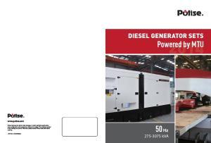 Powered by MTU. 50 Hz DIESEL GENERATOR SETS kva