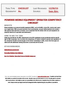 POWERED MOBILE EQUIPMENT OPERATOR COMPETENCY CHECKLIST BENEFITS