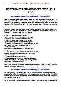 POWERPIVOT FOR MICROSOFT EXCEL 2013 PDF