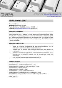 POWERPOINT 2003 OBJETIVOS GENERALES