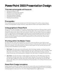 PowerPoint 2003 Presentation Design