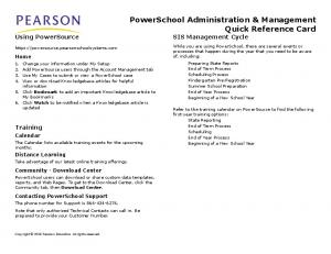 PowerSchool Administration & Management Quick Reference Card SIS Management Cycle