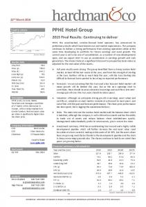 PPHE Hotel Group. Financial summary and valuation