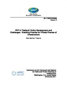 PPP in Thailand: Policy Development and Challenges - Enabling Finance for Private Finance of Infrastructure