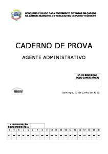 PR CADERNO DE PROVA AGENTE ADMINISTRATIVO