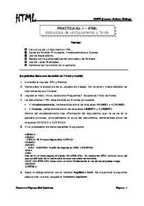 PRACTICA No. 1 HTML Estructura de un Documento y Texto