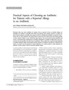 Practical Aspects of Choosing an Antibiotic for Patients with a Reported Allergy to an Antibiotic