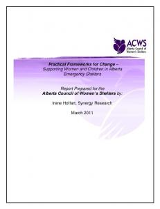 Practical Frameworks for Change Supporting Women and Children in Alberta Emergency Shelters