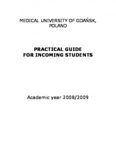PRACTICAL GUIDE FOR INCOMING STUDENTS