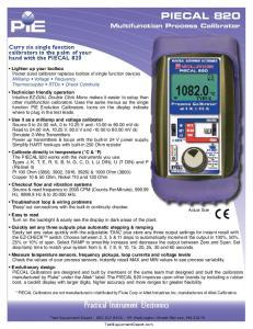 Practical Instrument Electronics PIECAL 820. Multifunction Process Calibrator
