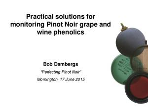 Practical solutions for monitoring Pinot Noir grape and wine phenolics Bob Dambergs