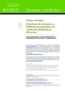 Prácticas de lectura en bibliotecas virtuales en contextos didácticos diversos