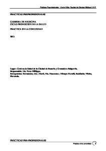 PRACTICAS PREPROFESIONALES CARRERA DE MEDICINA CICLO PROMOCION DE LA SALUD PRACTICA EN LA COMUNIDAD