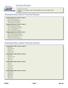 Practice Groups. Championship Dance Practice Groups. Championship Ladies Practice Groups