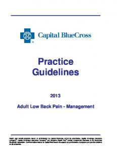Practice Guidelines. Adult Low Back Pain - Management