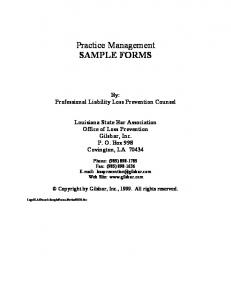 Practice Management SAMPLE FORMS