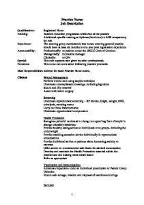 Practice Nurse Job Description