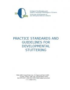 PRACTICE STANDARDS AND GUIDELINES FOR DEVELOPMENTAL STUTTERING