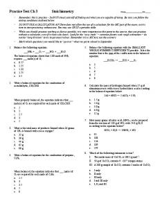 Practice Test Ch 3 Stoichiometry Name Per