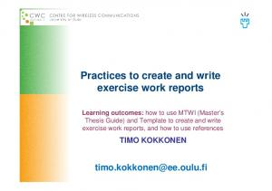 Practices to create and write exercise work reports