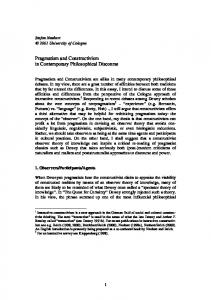 Pragmatism and Constructivism in Contemporary Philosophical Discourse