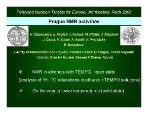 Prague NMR activities
