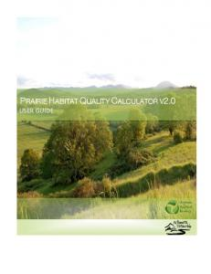 PRAIRIE HABITAT QUALITY CALCULATOR V2.0 USER GUIDE