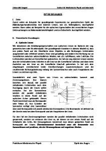 Praktikum Medizinische Physik 1 Optik des Auges