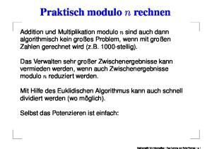Praktisch modulo n rechnen