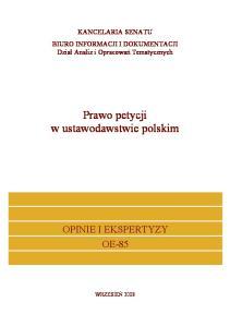 Prawo petycji w ustawodawstwie polskim