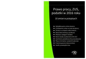 Prawo pracy, ZUS, podatki w 2016 roku