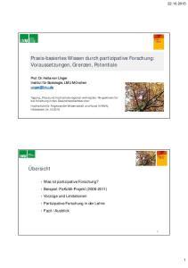 Praxis-basiertes Wissen durch partizipative Forschung: Voraussetzungen, Grenzen, Potentiale