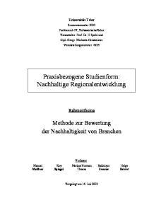 Praxisbezogene Studienform: Nachhaltige Regionalentwicklung