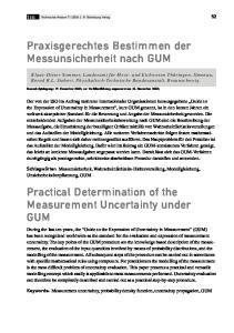 Praxisgerechtes Bestimmen der Messunsicherheit nach GUM