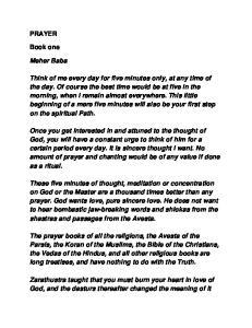 PRAYER. Book one. Meher Baba