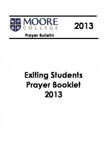 Prayer Bulletin. Exiting Students Prayer Booklet