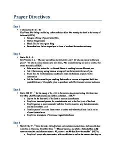 Prayer Directives. Day 1. Day 2. Day 3. Day 4